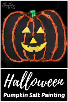 Halloween pumpkin salt painting jack o' lantern