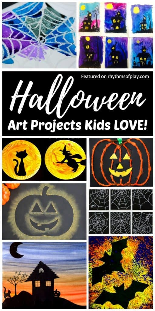 Halloween art projects kids LOVE! Spooky and not so spooky fun and easy Halloween art ideas including pumpkins, bats, cats, witches, monsters, spider webs and more!