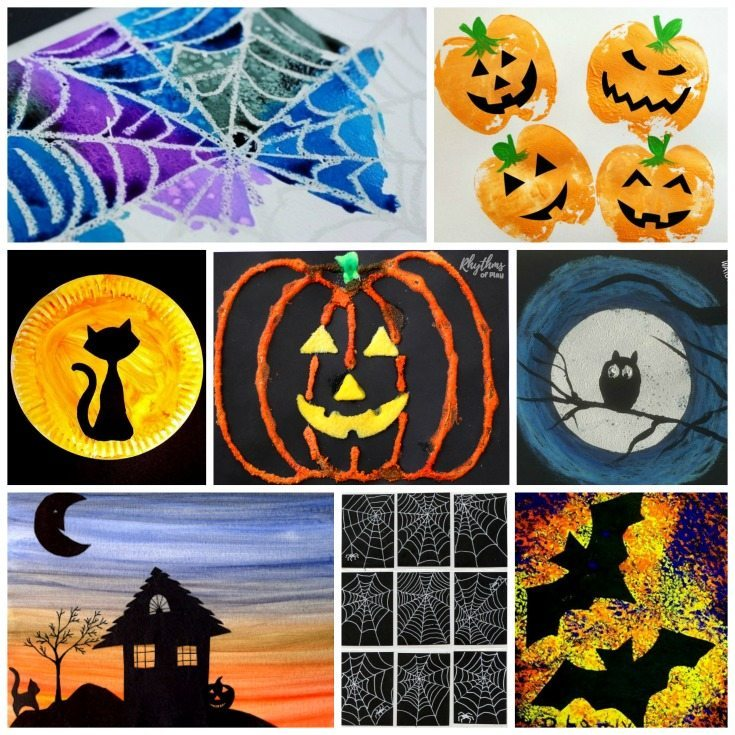 Halloween art projects kids LOVE! Spooky and not so spooky fun and easy Halloween art ideas including pumpkins, bats, cats, witches, monsters, and spider webs!