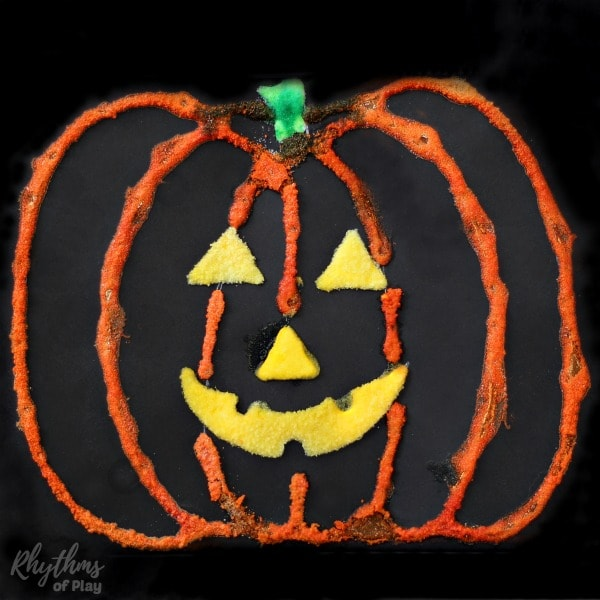 halloween pumpkin art for kids - Jack o' lantern salt painting