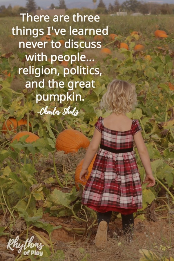 Child in a pumpkin patch looking for a pumpkin with great pumpkin quote.