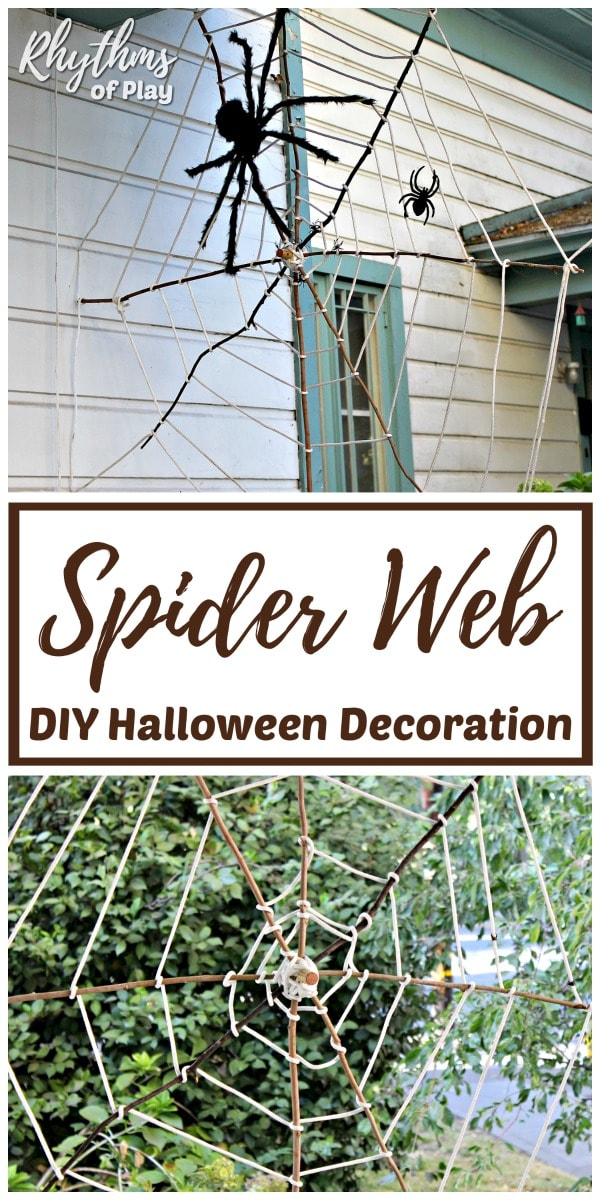 diy spider web halloween decoration idea