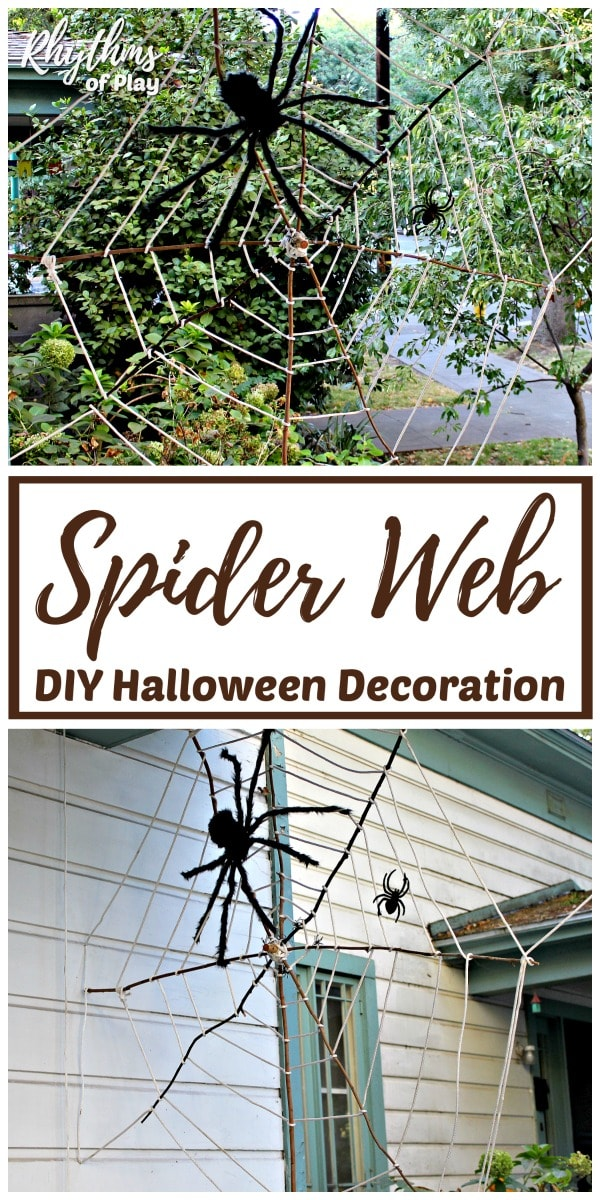 giant stick spider web diy halloween decoration