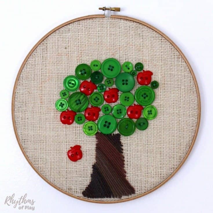 Learn how to sew a button by sewing an apple tree full of buttons!