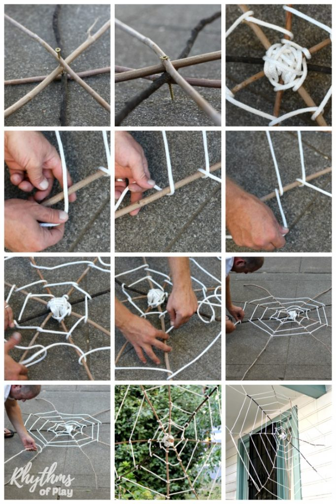 Spider Webs Halloween Decorations Part - 42: Giant Stick Spider Web Halloween Decoration. An Easy Nature Craft DIY Halloween  Decoration For Your