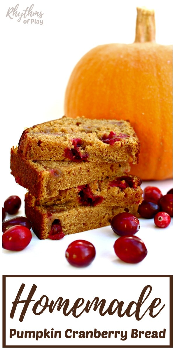 healthy homemade pumpkin bread recipe with cranberries!