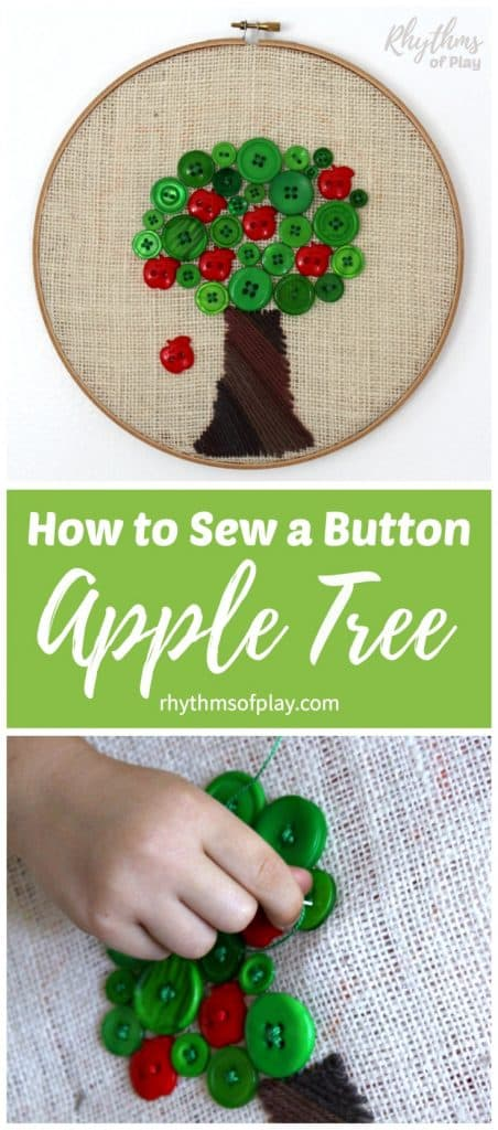 How to sew a button apple tree.