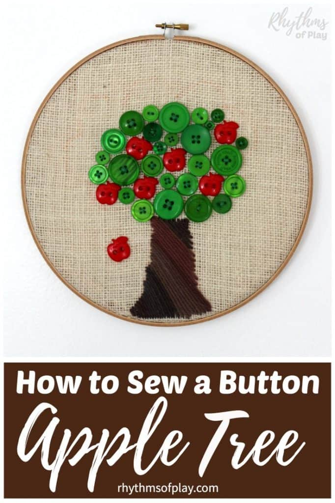 Button apple tree beginning sewing project.
