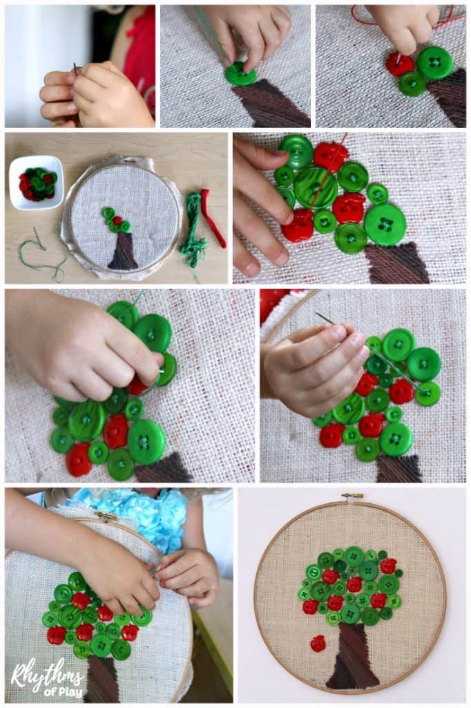 Learn how to sew a button by sewing a button tree - beginning sewing project for kids