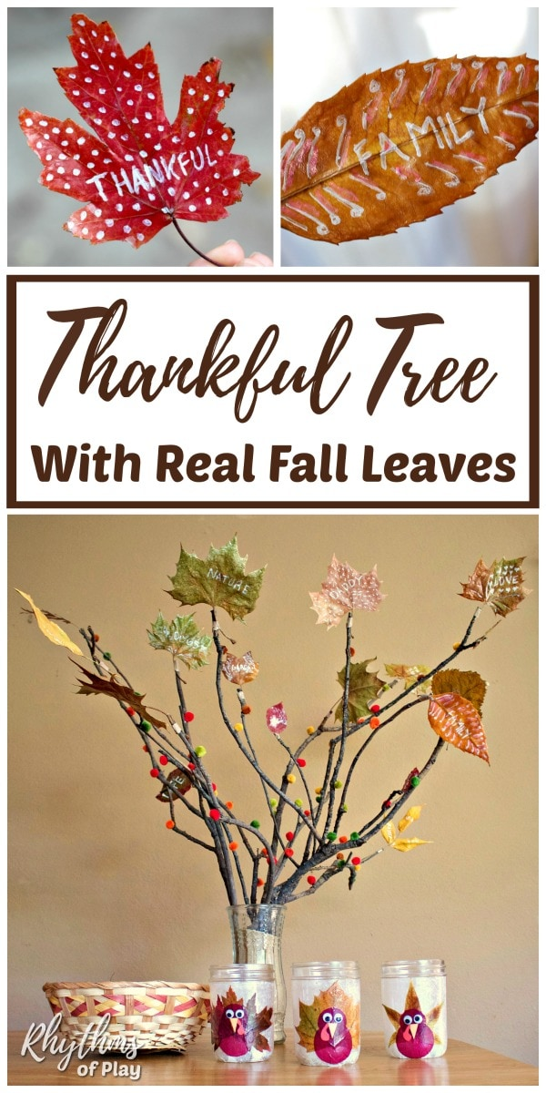 How to make a thankful tree with real preserved gratitude leaves that say thankful, family, etc.