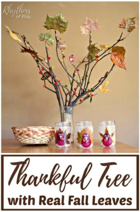 How to make a thankful tree with real fall leaves