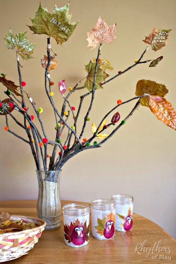 Thanksgiving thankful tree with preserved leaves