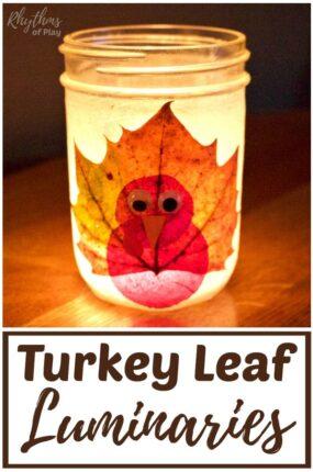 Thanksgiving turkey fall leaf mason jar lanterns DIY
