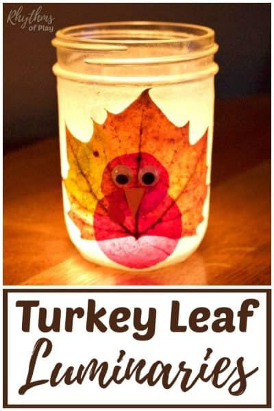 Thanksgiving turkey fall leaf mason jar lanterns DIY