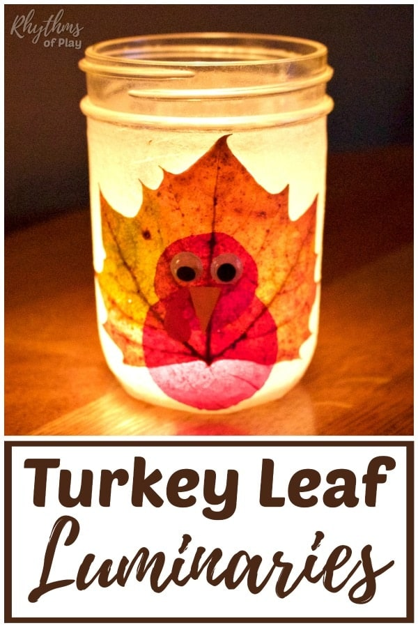 Thanksgiving turkey leaf luminaries fall DIY decor