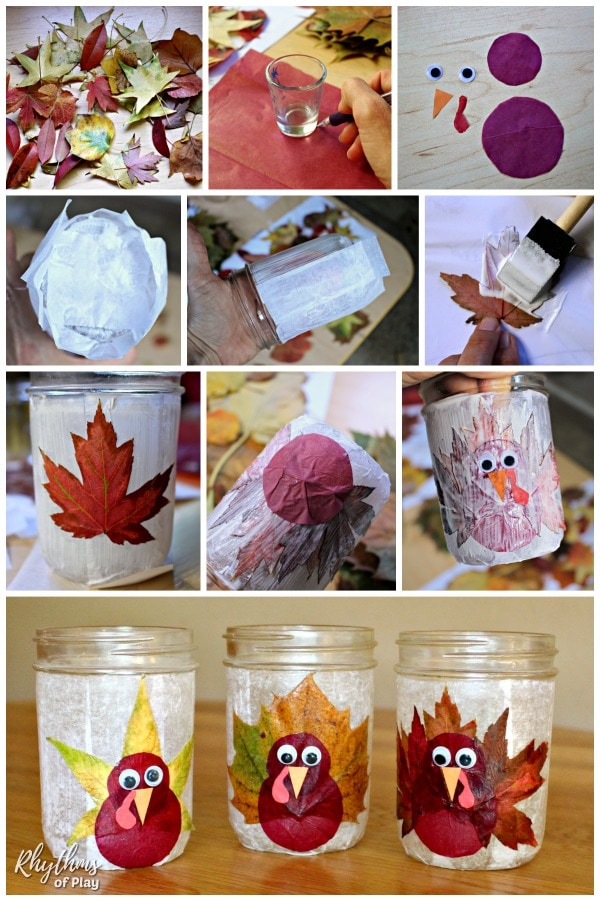 How to make a mason jar leaf lantern Thanksgiving craft step by step photo tutorial