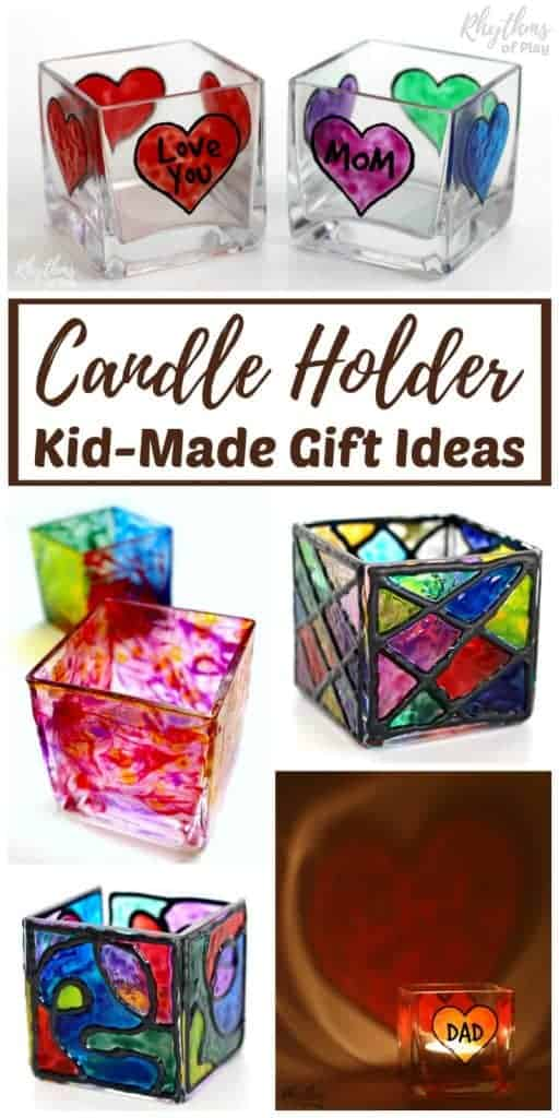 fun collection of hand-painted candle holders and kid-made gift ideas