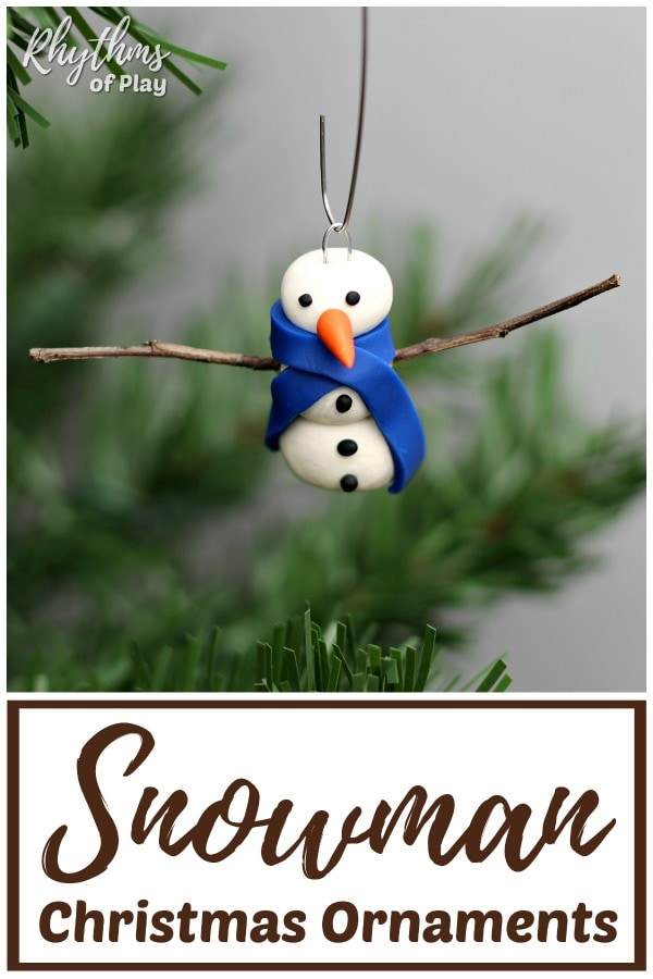 how to make clay snowman ornaments with twig arms
