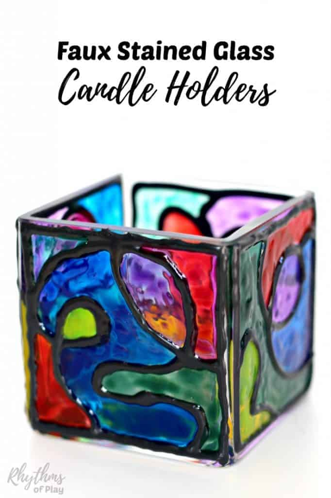 Faux stained glass candle holders are a handpainted craft for kids and adults. Creating stained glass effects with glass paint is a simple hack that looks amazing. These gorgeous square votives make a unique homemade gift idea that even kids can make.