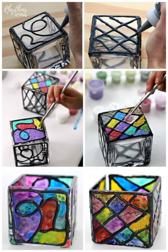 DIY Faux Stained Glass Candle Holders | Rhythms of Play