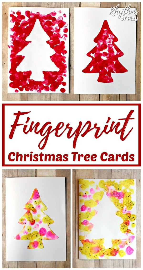 homemade fingerprint Christmas tree cards