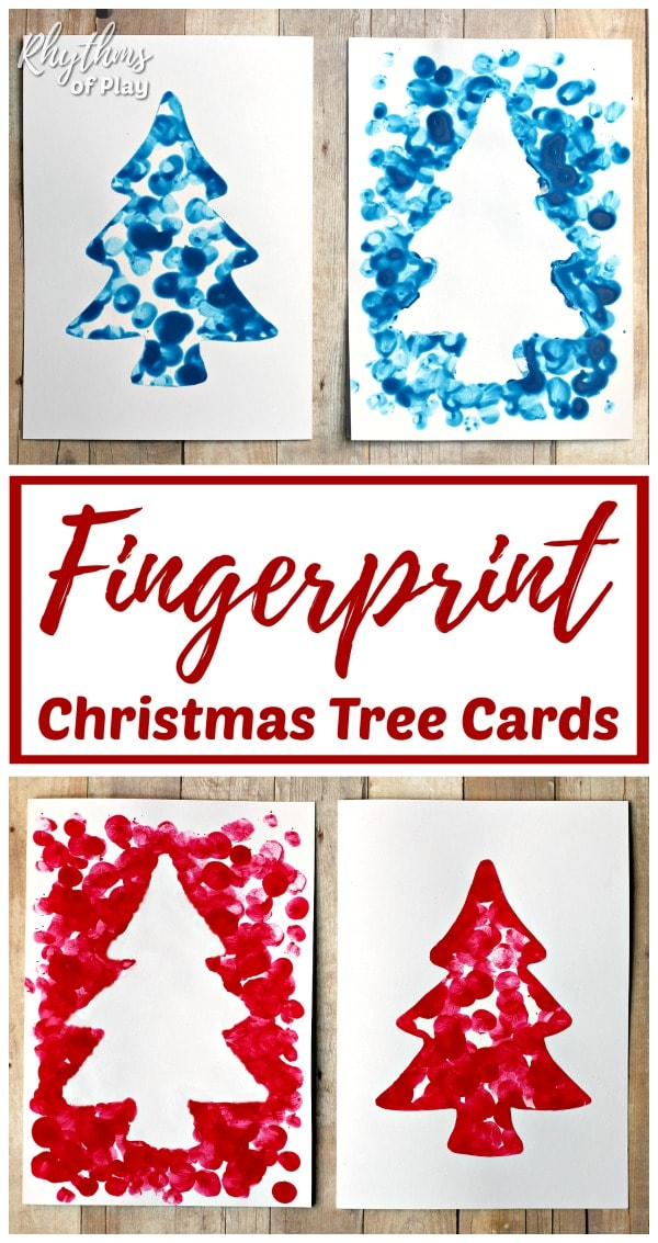 homemade fingerprint Christmas tree cards kids can make