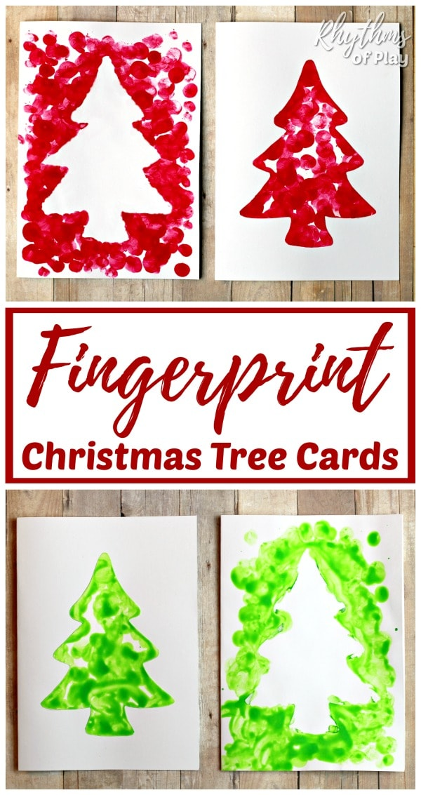 Homemade fingerprint tree Christmas cards