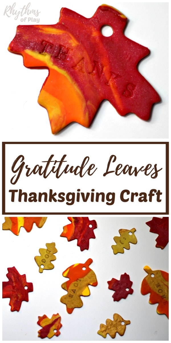 How to make clay gratitude leaves Thanksgiving craft