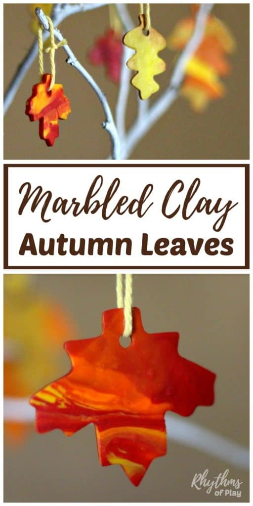 fall leaf crafts - autumn leaves made with marbled polyform clay