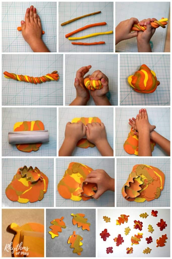 DIY autumn leaves - fall leaf crafts made with polyform clay step by step photo tutorial.