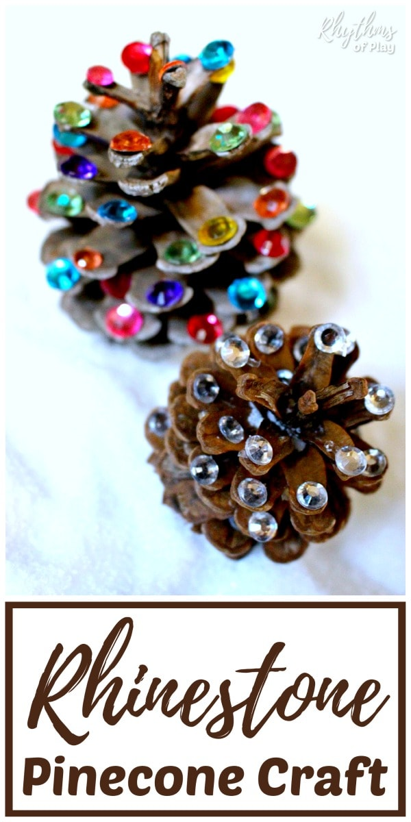 Rustic rhinestone pinecone crafts Christmas DIY home decor