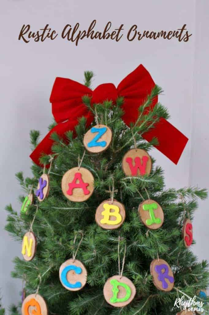 Rustic Alphabet Wood Slice Ornaments