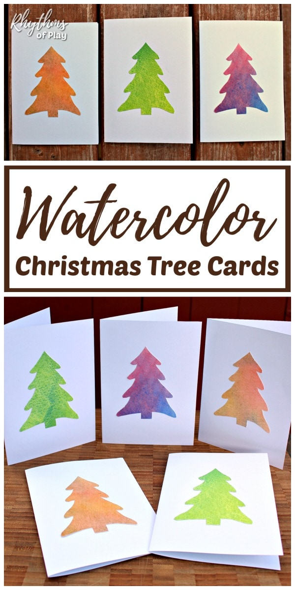 Homemade Christmas Cards With A Watercolor Christmas Tree