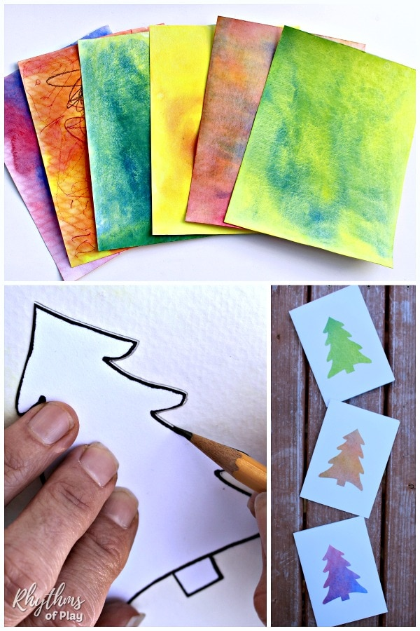 simple watercolor Christmas tree cards step by step photo tutorial.
