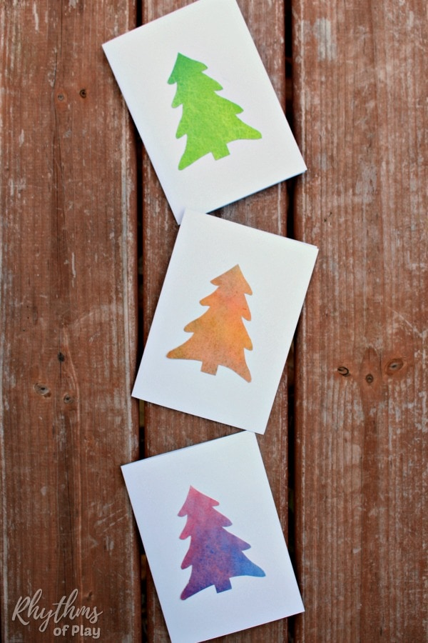Homemade Christmas Tree Cards made with watercolors
