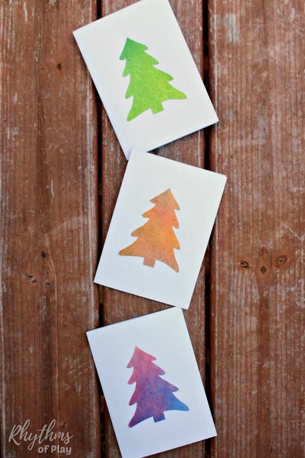 Homemade Watercolor Christmas Tree Cards Rhythms Of Play