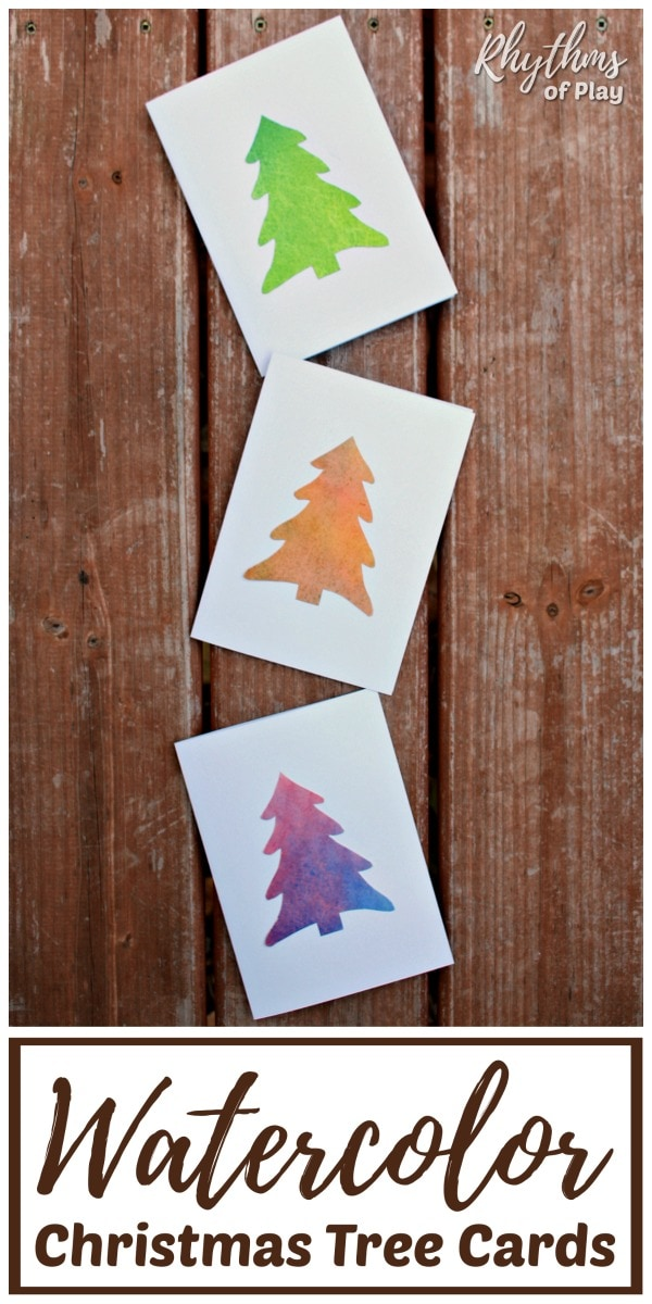 Homemade Watercolor Christmas Tree Cards | Rhythms of Play