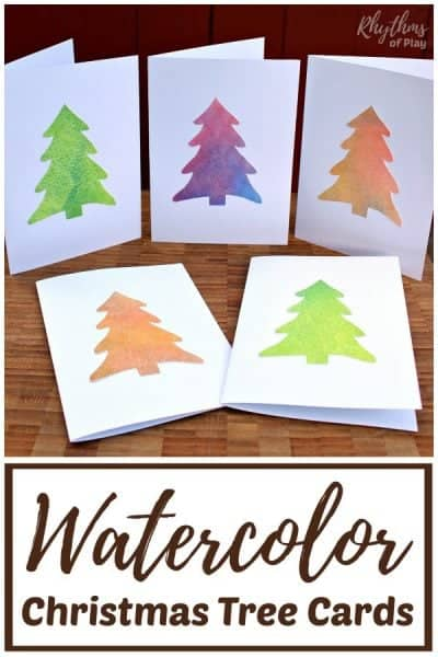 Homemade watercolor Christmas tree card