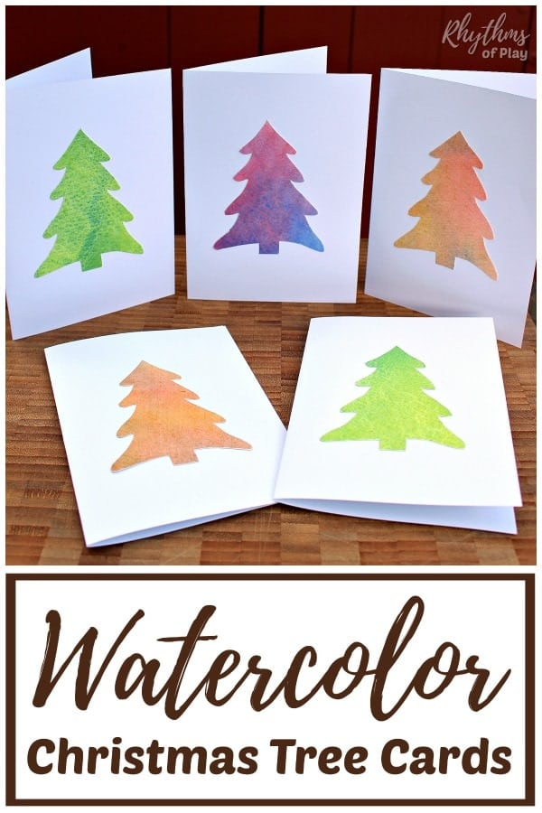 Homemade Watercolor Christmas Tree Cards Rhythms Of Play