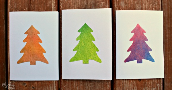 Handmade Christmas cards with a watercolor Christmas tree