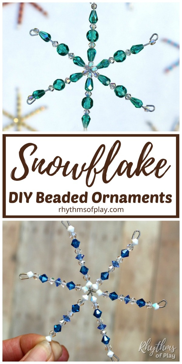 How to make beaded snowflake ornaments Christmas craft