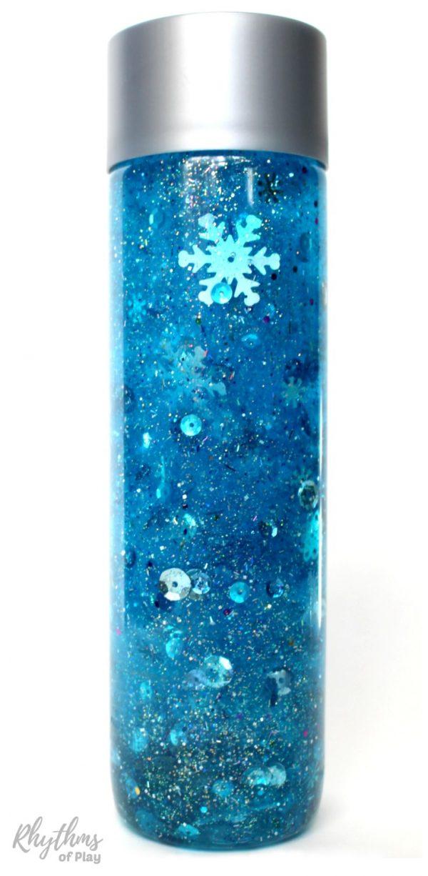 Snowflake glitter sensory bottle