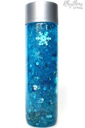Frozen snowflake glitter sensory bottle diy
