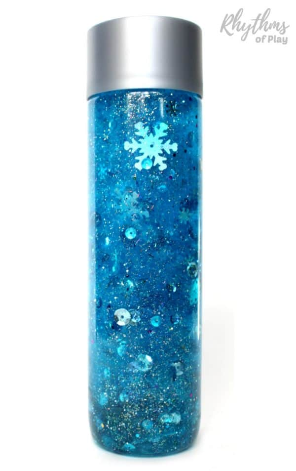 Frozen snowflake glitter sensory bottle diy