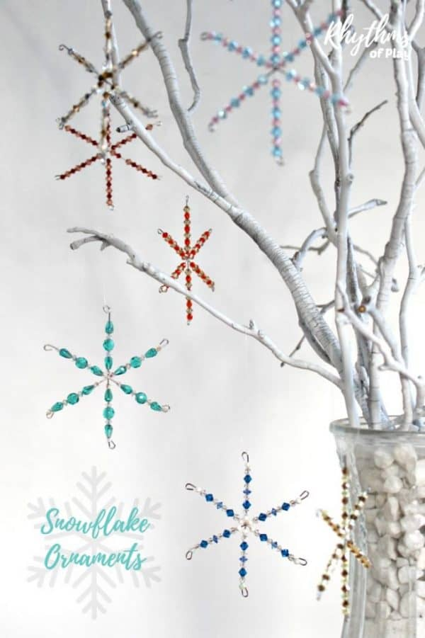 DIY beaded snowflake ornaments craft