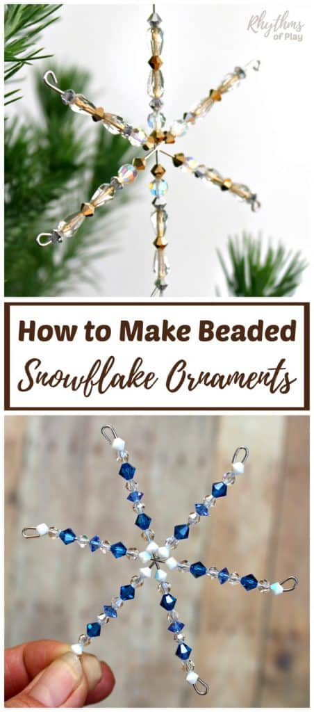 Click through to learn how to make beaded snowflake ornaments with the DIY video tutorial. This easy winter craft is for kids, teens, and adults. Add a touch of magic to your Christmas tree with a few sparkling crystal snowflakes!