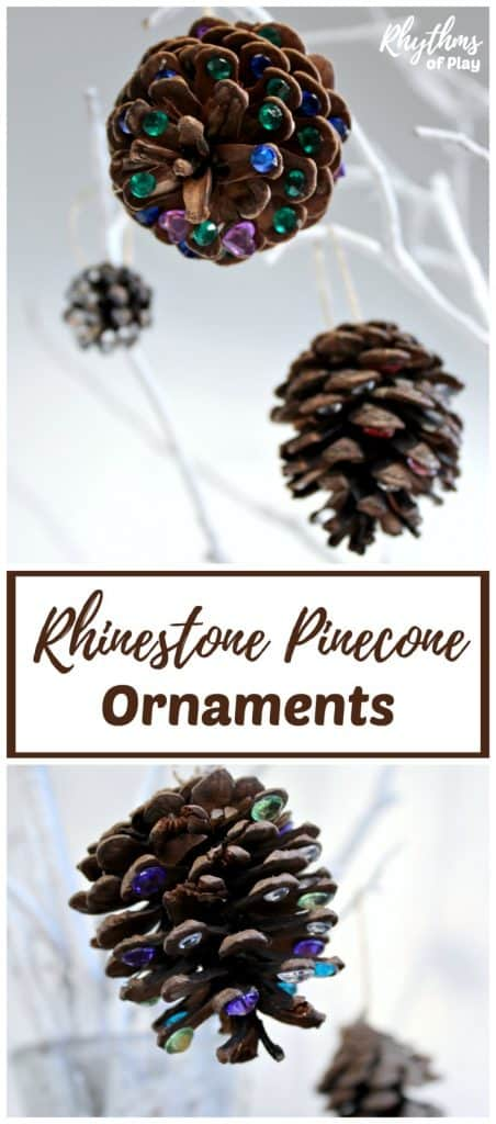 Add a little rustic bling to your Christmas tree with DIY rhinestone pinecone ornaments! An easy kid-made book-inspired Christmas nature craft kids and adults both enjoy crafting for the holidays.