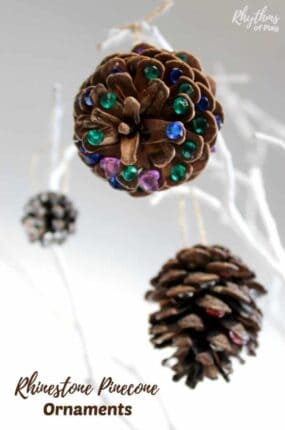 Add a little rustic bling to your Christmas tree with DIY rhinestonepineconeornaments! An easy kid-made book-inspired Christmas nature craft kids and adults both enjoy crafting for the holidays.