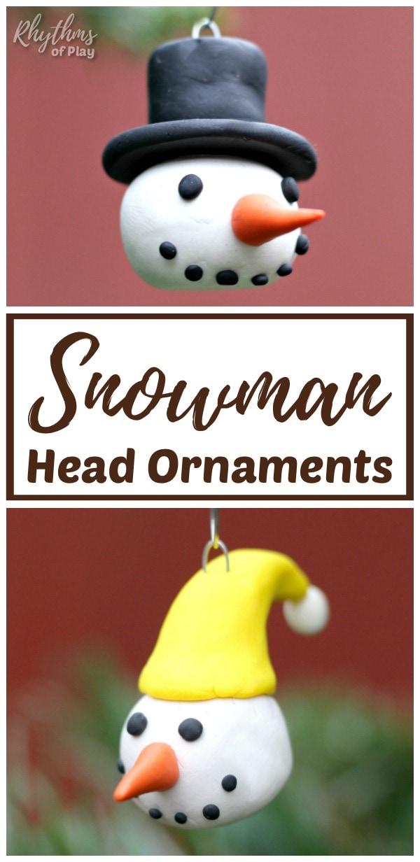 DIY Christmas Snowman Head Ornaments