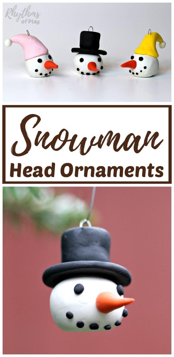 Homemade snowman head ornaments